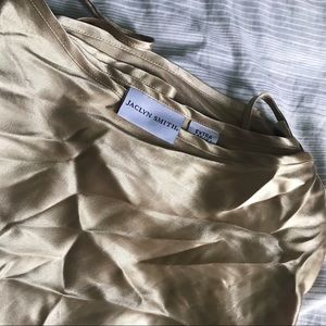 Gold Silk Vintage Thin Strap Blouse / Jaclyn Smith